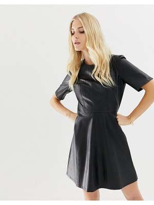 ASOS DESIGN pu mini shift dress-black