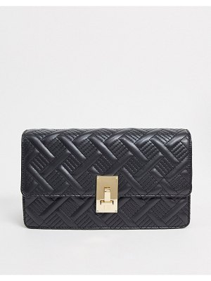ASOS DESIGN quilted cross-body bag with hardware detail in black
