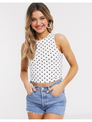 ASOS DESIGN racer tank in polka dot-white