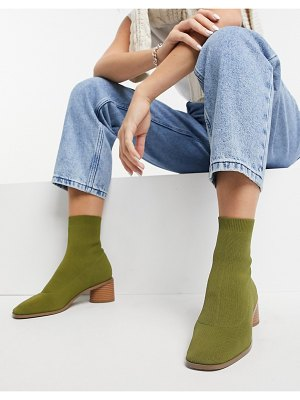 ASOS DESIGN radley knitted heeled sock boots in khaki-green