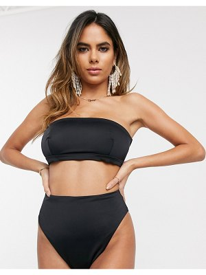 ASOS DESIGN recycled fuller bust mix and match clean bandeau bikini top in black dd-g