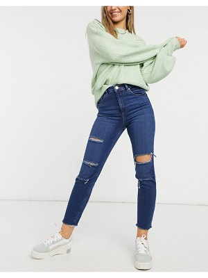 ASOS DESIGN recycled high rise farleigh 'slim' mom jeans in dark wash with slashed knee rips and raw hem detail-blues