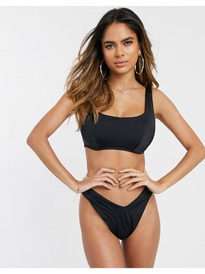 ASOS DESIGN recycled mix and match fuller bust underwired square neck crop top in black dd-g