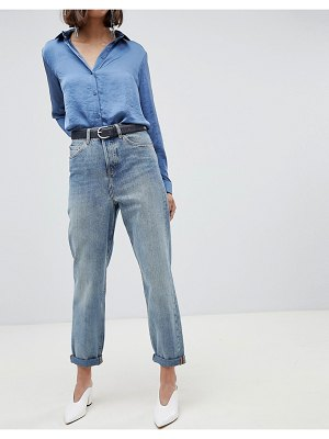 ASOS DESIGN recycled ritson rigid mom jeans in aged light stonewash blue