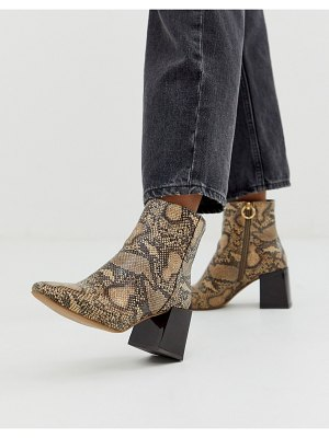 ASOS DESIGN reed heeled ankle boots in natural snake-multi