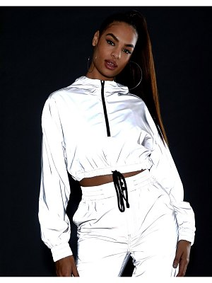 ASOS DESIGN reflective cropped tracksuit jacket-silver