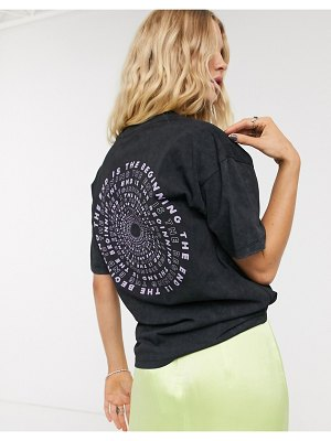 ASOS DESIGN relaxed t-shirt in acid wash with spiral print-gray