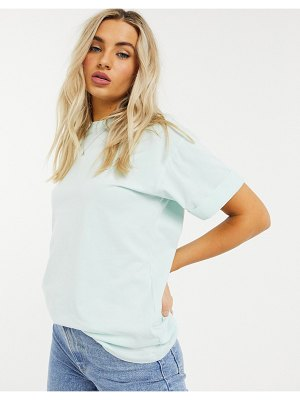 ASOS DESIGN relaxed t-shirt with roll sleeve in washed sage-green