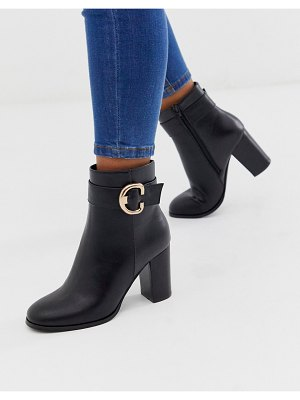 ASOS DESIGN relay heeled ankle boots in black