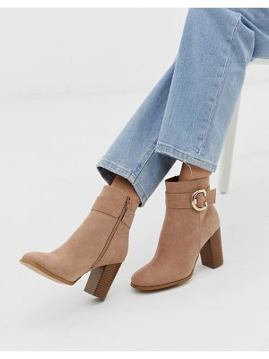 ASOS DESIGN relay heeled ankle boots in taupe-beige