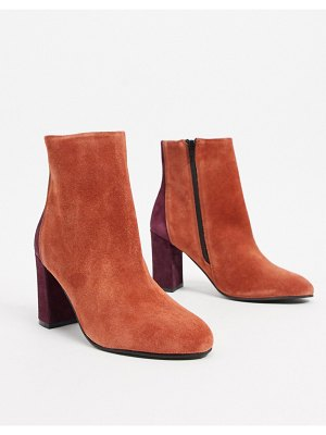 ASOS DESIGN resilient leather heeled boots in rust-orange