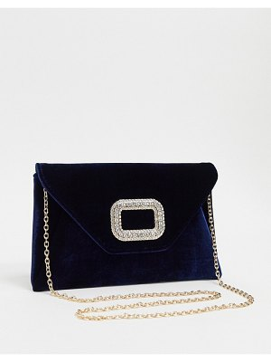 ASOS DESIGN rhinestone buckle clutch bag with detachable strap-navy