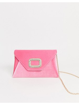 ASOS DESIGN rhinestone buckle clutch bag with detachable strap-pink