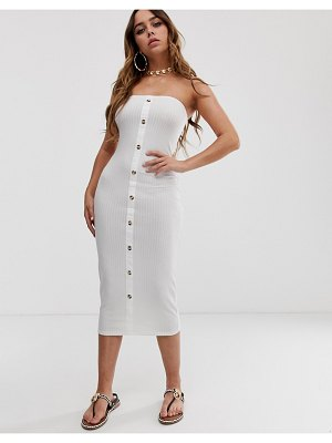 ASOS DESIGN rib bandeau midi bodycon dress with faux horn buttons-white