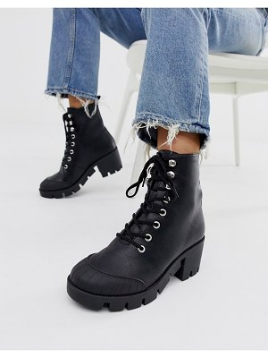 ASOS DESIGN ripple chunky lace up boots in black