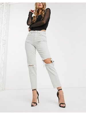 ASOS DESIGN ritson original mom jeans in concrete wash with rips-orange