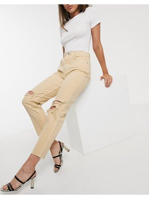 ASOS DESIGN ritson original mom jeans in yellow with rips