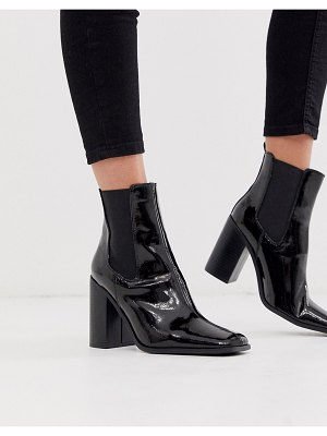 ASOS DESIGN river heeled chelsea boots in black patent