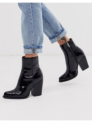 ASOS DESIGN robin heeled ankle boots in black patent