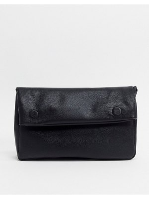 ASOS DESIGN roll top clutch in black pu