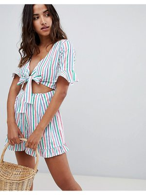 ASOS DESIGN romper with cut out and tie detail in multi stripe