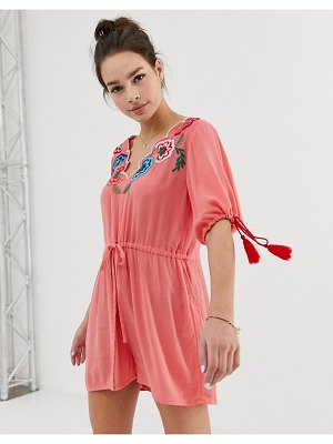 ASOS DESIGN romper with embroidery and tie sleeve detail-multi