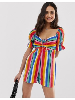 ASOS DESIGN romper with puff sleeve and tie detail in rainbow stripe