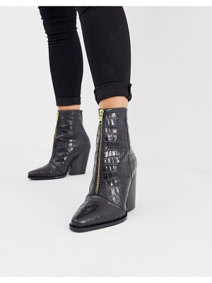 ASOS DESIGN rotate leather zip western ankle boots in black croc