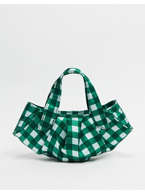 ASOS DESIGN ruched clutch bag in green gingham