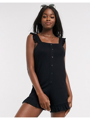 ASOS DESIGN ruffle-sleeve romper with button front in black