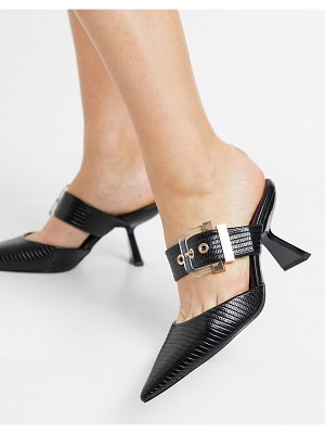 ASOS DESIGN saga buckle feature mid heeled mules in black