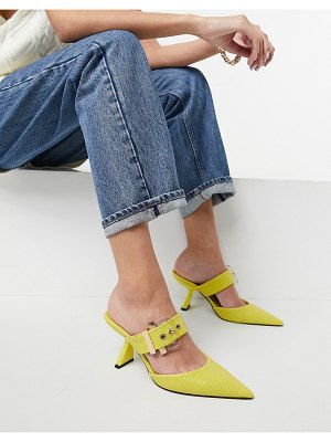 ASOS DESIGN saga buckle feature mid heeled mules in lime-green