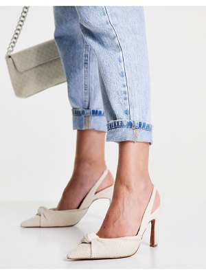 ASOS DESIGN sandy knotted slingback mid heels in natural-neutral