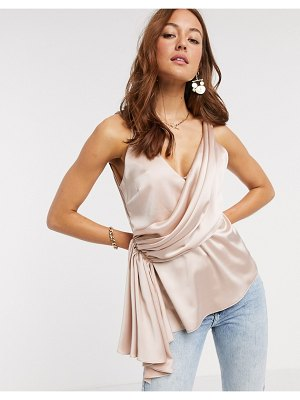 ASOS DESIGN satin cami with drape detail in blush-pink