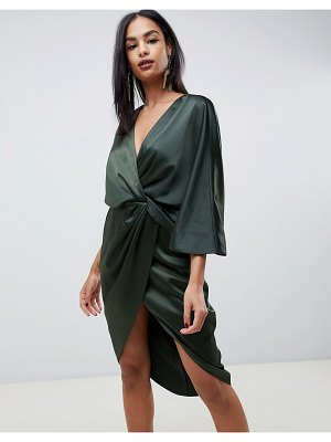 ASOS DESIGN satin kimono midi dress with knot front and asymmetric sleeve