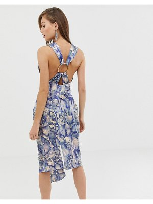 ASOS DESIGN satin midi dress with ring detail in abstract print-multi