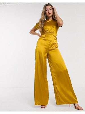 ASOS DESIGN satin tea jumpsuit with ruched front detail-yellow