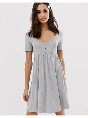 ASOS DESIGN scoop neck mini button front smock dress-gray