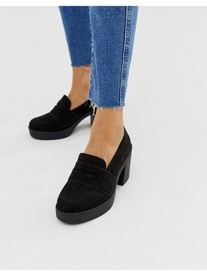 ASOS DESIGN script chunky loafers in black