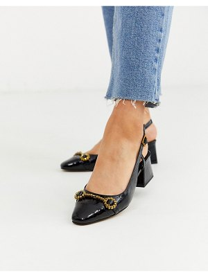 ASOS DESIGN shadow mid heeled loafers in black croc