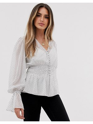 ASOS DESIGN sheer long sleeve button front top with smock detail-multi