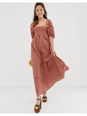 ASOS DESIGN shirred bustier maxi dress with puff sleeve in check-multi