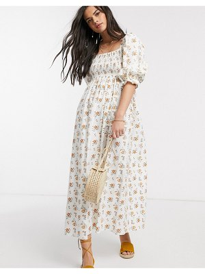ASOS DESIGN shirred maxi dress in ditsy floral-multi
