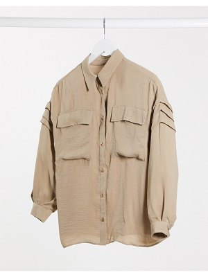 ASOS DESIGN shirt with pleat sleeve detail in stone