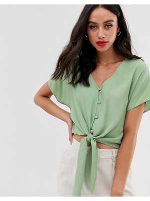 ASOS DESIGN short sleeve button front top with tie detail