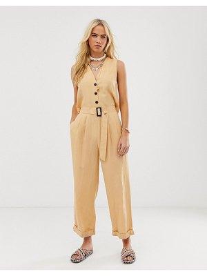 ASOS DESIGN sleeveless boilersuit with open back and buckle-yellow