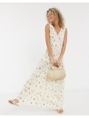 ASOS DESIGN sleeveless tiered crinkle maxi dress with lace inserts in floral print-multi