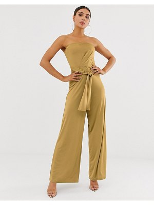 ASOS DESIGN slinky bandeau jumpsuit with tie front-yellow