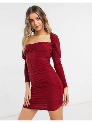 ASOS DESIGN slinky long sleeve ruched bust mini dress in burgundy-red
