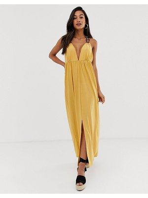 ASOS DESIGN slinky maxi dress with ring detail-yellow